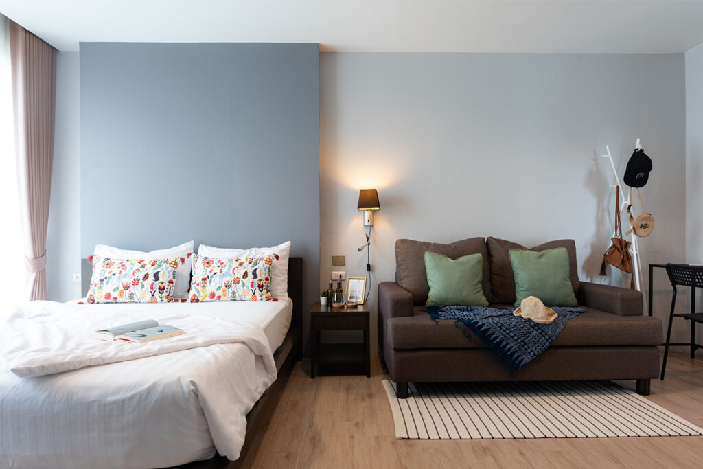 Bed and Sofa of Studio type at Solario