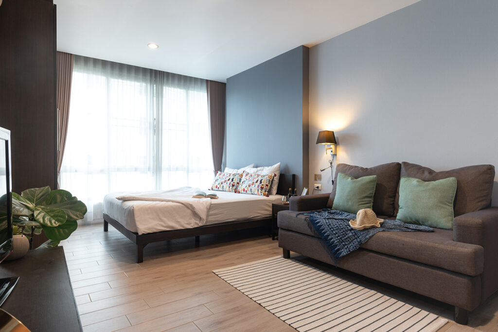 sofa and bed of Studio type at Solario